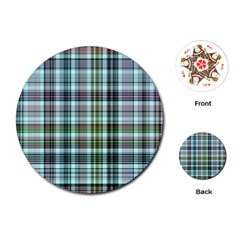 Plaid Ocean Playing Cards (Round)