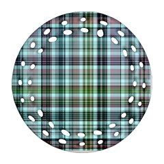 Plaid Ocean Ornament (Round Filigree)