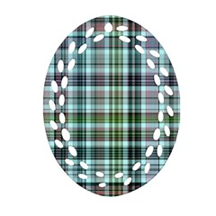 Plaid Ocean Oval Filigree Ornament (2-Side)