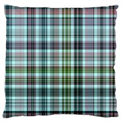 Plaid Ocean Large Flano Cushion Cases (Two Sides)