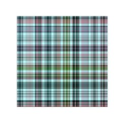 Plaid Ocean Small Satin Scarf (Square)