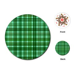 Plaid Forest Playing Cards (Round)