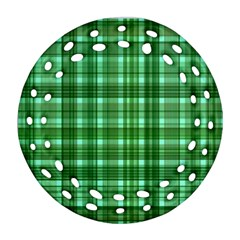 Plaid Forest Round Filigree Ornament (2Side)