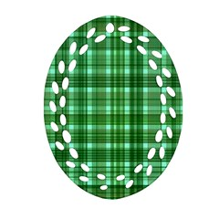 Plaid Forest Oval Filigree Ornament (2-Side)