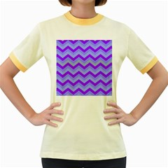 Chevron Blue Women s Fitted Ringer T-Shirts