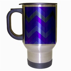 Chevron Blue Travel Mug (silver Gray)