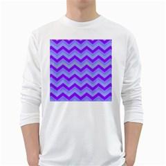 Chevron Blue White Long Sleeve T-Shirts