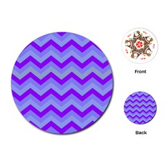 Chevron Blue Playing Cards (Round)