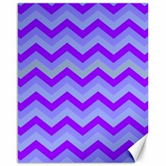 Chevron Blue Canvas 16  X 20