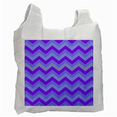 Chevron Blue Recycle Bag (one Side)