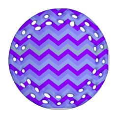 Chevron Blue Ornament (Round Filigree)