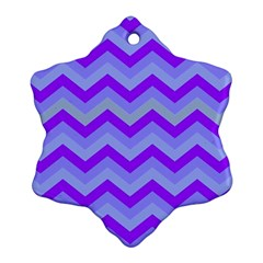 Chevron Blue Snowflake Ornament (2-Side)