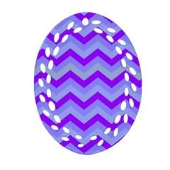 Chevron Blue Oval Filigree Ornament (2 Side)