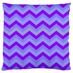 Chevron Blue Large Flano Cushion Cases (Two Sides)