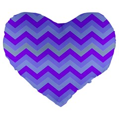 Chevron Blue Large 19  Premium Flano Heart Shape Cushions
