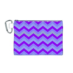 Chevron Blue Canvas Cosmetic Bag (M)