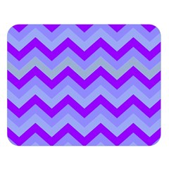 Chevron Blue Double Sided Flano Blanket (Large)