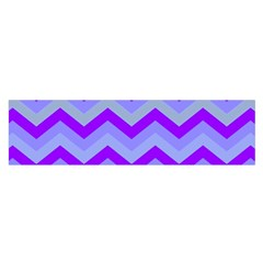 Chevron Blue Satin Scarf (Oblong)