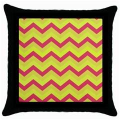 Chevron Yellow Pink Throw Pillow Cases (black)