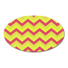 Chevron Yellow Pink Oval Magnet