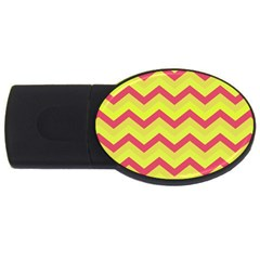 Chevron Yellow Pink Usb Flash Drive Oval (2 Gb)