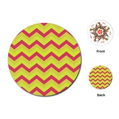 Chevron Yellow Pink Playing Cards (round)