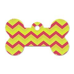 Chevron Yellow Pink Dog Tag Bone (two Sides)
