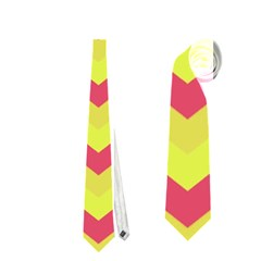 Chevron Yellow Pink Neckties (One Side)