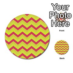 Chevron Yellow Pink Multi Purpose Cards (round)