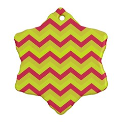 Chevron Yellow Pink Ornament (Snowflake)