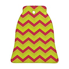 Chevron Yellow Pink Bell Ornament (2 Sides)