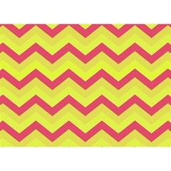 Chevron Yellow Pink Birthday Cake 3d Greeting Card (7x5)