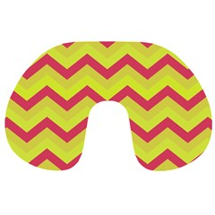 Chevron Yellow Pink Travel Neck Pillows
