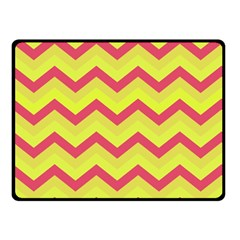 Chevron Yellow Pink Double Sided Fleece Blanket (Small)