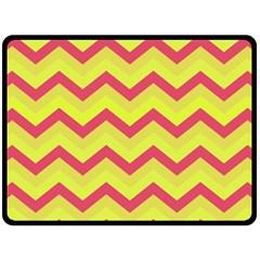Chevron Yellow Pink Double Sided Fleece Blanket (Large)