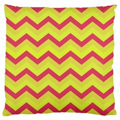 Chevron Yellow Pink Large Flano Cushion Cases (One Side)