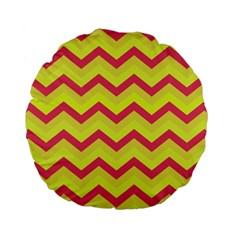 Chevron Yellow Pink Standard 15  Premium Flano Round Cushions
