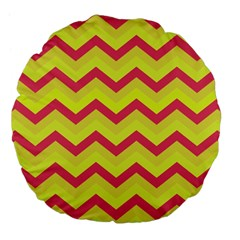 Chevron Yellow Pink Large 18  Premium Flano Round Cushions