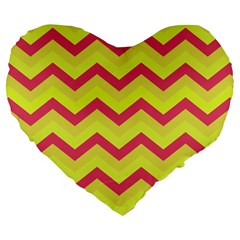 Chevron Yellow Pink Large 19  Premium Flano Heart Shape Cushions