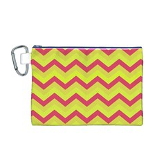 Chevron Yellow Pink Canvas Cosmetic Bag (M)