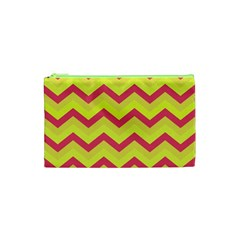 Chevron Yellow Pink Cosmetic Bag (XS)