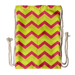 Chevron Yellow Pink Drawstring Bag (Large)
