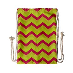 Chevron Yellow Pink Drawstring Bag (Small)
