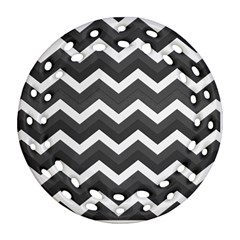 Chevron Dark Gray Ornament (round Filigree)