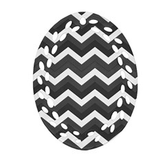 Chevron Dark Gray Oval Filigree Ornament (2-Side)