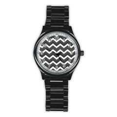 Chevron Dark Gray Stainless Steel Round Watches