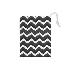 Chevron Dark Gray Drawstring Pouches (small)