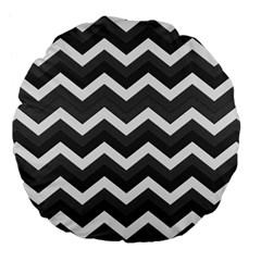 Chevron Dark Gray Large 18  Premium Flano Round Cushions