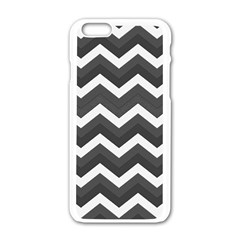 Chevron Dark Gray Apple Iphone 6 White Enamel Case