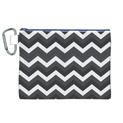 Chevron Dark Gray Canvas Cosmetic Bag (XL)